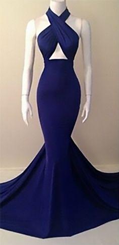 Navy Blue Cross Wrap Halter Cut Out Sexy Maxi Dress Gown