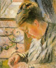 Portrait of Madame Pissarro Sewing near a Window - Camille Pissarro (French, 1830-1903) Impressionist, Pointillist Painter