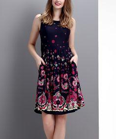 Navy Paisley Sleeveless Fit & Flare Dress #zulily *so pretty