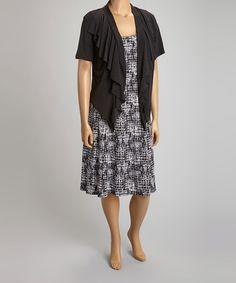 Look what I found on #zulily! Black & White Sleeveless Dress & Open Cardigan - Plus #zulilyfinds