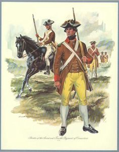 "2nd and 4th Regiments, Connecticut, 1777 We have two examples of this dress in our illustration.  The foot figure represents a corporal in Captain Nathaniel Bishop's Company and is based upon a description by the captain written in 1777.  The rank of corporal was shown by the green cloth on the right shoulder.  The mounted figure represents a private of Captain James Green's Troops of the second Light Horse based on a notice in the ""Connecticut Gazette"" for October 24, 1777."