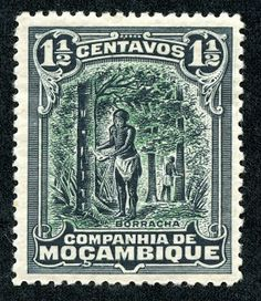 "Mozambique Company  1918 Scott 112 1 1/2c black & green ""Tapping Rubber Tree"""