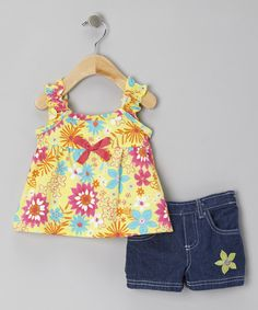 Take a look at the Yellow Floral Tank & Blue Denim Shorts - Infant & Toddler on #zulily today!