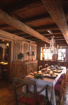 France Setted table for christmas dinner, Jocelyne and Jean Louis Sibuet's home, Megève, Rhône-Alpes region, south-eastern France French Alps