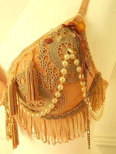 Peach, Gold & Cream bra - Burlesque, Belly Dance,