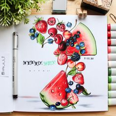 This could be really cute for a berry daily spread 😁 Marker Kunst, Copic Marker Art, Copic Art, Sketch Markers, Copic Markers, Copic Kunst, Arte Copic, Copic Drawings, Cute Drawings