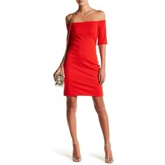 A by Amanda Electra Off-the-Shoulder Minidress ($60) ❤ liked on Polyvore featuring dresses, candy apple, red off shoulder dress, off the shoulder knit dress, red off the shoulder dress, red knit dress and off the shoulder sheath dress