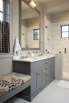 This modern floating vanity provides tons of useful storage space! More of our favorite bathroom upgrades: www.bhg.com/...