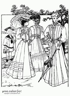 Coloring Pages of Victorian Ladies | Color. Fun! Free printables, coloring pages, crafts, puzzles ...