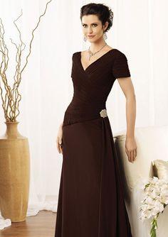 A-line Sleeve V-neck Floor-length Flower Chiffon Mother Of the Bride Dresses