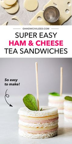 If you're looking for a good baby or bridal shower/tea time/garden party snack idea, then make a delicious batch of easy ham and cheese tea sandwiches! They're also fun to make with kids (no knives and cooking needed!) Click here to get started. High Tea Sandwiches, Finger Sandwiches, Tea Time Snacks, Party Snacks, Sandwich Recipes, Snack Recipes, Hot Tea Recipes, Best Tea, Ham And Cheese