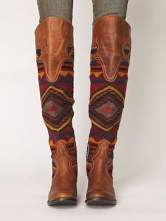 Tall Boots - Leather Patchwork