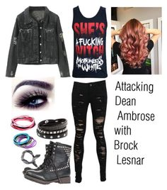 """""""Murdering Dean Ambrose with Brock Lesnar :)"""" by satan ❤ liked on Polyvore featuring Ash, Topman, WWE, wwediva, wwedivas, DeanAmbrose and wweoc"""