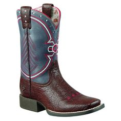 Ariat Childrens Brown/Blue Freedom Cowboy Boots