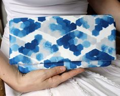 I'm in love with this blue and gray watercolor fabric.