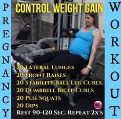 Control Weight Gain with this Pregnancy Workout that works the entire body. It can be done from home and will help lose baby weight so much faster than if you don't exercise.  http://michellemariefit.publishpath.com/control-weight-gain-pregnancy-workout