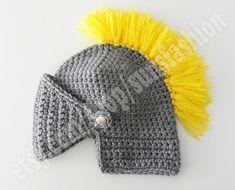 Handmade Crochet Knight Helmet Hat for Men