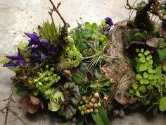 woodland arrangement with muscari, hellebore, enkianthus, primroses, columbine, tulips, maidenhair ferns, poppy pods and textures, Francoise Weeks