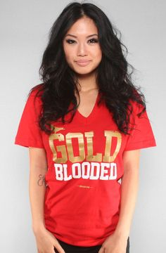Adapt Advancers — GOLD BLOODED Women's Red/Gold V-Neck