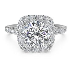 Ritani French-Set Diamond Halo Engagement Ring Setting ($1,770) ❤ liked on Polyvore featuring jewelry, rings, ritani rings, round engagement rings, cushion cut ring, band rings and white gold band ring