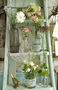 Vintage Shabby Chic Step Ladder decorated with Vases of Flowers on Each Step & a Little Brass Bird ....