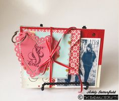 A cute little valentines day mini album you can create for yourself as home decor or a gift usin Stampin Up products #vday #valentinesday #stampinup #album #moreamore #heartsaflutter