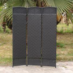 Outdoor/Indoor Woven Resin 3 Panel Room Divider - Black - CDI-137SN3 BLACK