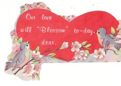 Vintage Valentine - bluebirds and dogwood flowers.