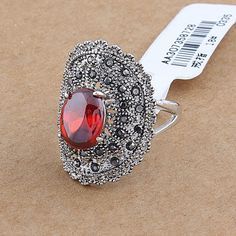 Korea Style Fashion Red Dome Alloy Rhinestone Ruby Rings