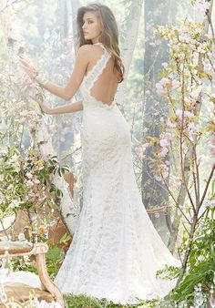 Backless A-line gown | Jim Hjelm | https://www.theknot.com/fashion/8359-jim-hjelm-wedding-dress