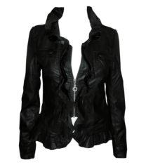 Black Ruffle Jacket Black Ruffle, Must Haves, Motorcycle Jacket, Leather Jacket, Park, Jackets, Fashion, Studded Leather Jacket, Down Jackets