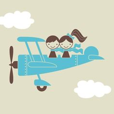 Airplane Wall Decal Sticker Twin Seater Kids Baby by graphicspaces, $35.00