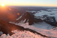 beingbeauskalley:  The sunrise at 13,000' is hard to beat. Little Tahoma at 11,000' is dwarfed by its big neighbor, Mt Rainier