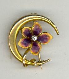 Stunning Antique Art Nouveau 10K Iridescent Enamel Flower Crescent Moon Pin | eBay