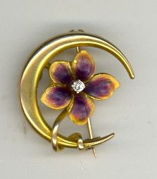 Stunning Antique Art Nouveau 10K Iridescent Enamel Flower Crescent Moon Pin | eBay