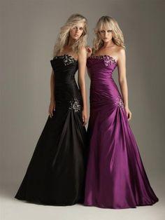 2011 Style Trumpet / Mermaid Strapless Beading  Sleeveless Floor-length Elastic Woven Satin Grape Prom Dress / Evening Dress (SZ037511 )