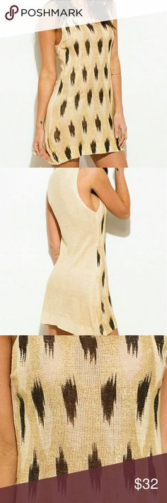 "LAST 2 / Metallic Gold Abstract Print Tunic Top Shimmery metallic tunic top/ mini dress is perfect for a cocktail night! Features metallic ikat print and a ribbed knit neckline. Pair with strappy heels and throw your hair up for an effortless look! Top is unlined. Small/Medium: length 31"", bust 15.5 Medium/Large: length 33.5"" bust 17"" 100% Acrylic - does have stretch to it Paradis Miss Tops"