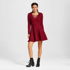 Women's Lace-up Solid Sweater Dress - Xhilaration™ (Juniors') #Xhilaration153