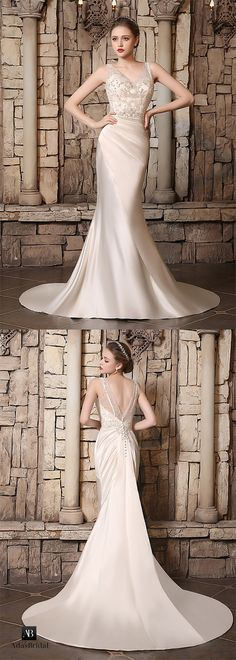 Chic satin v-neck neckline mermaid wedding dresses. Unforgettable and exciting, this stunning bridal gown is a beautiful selection for your big day. (WWD45473) - Adasbridal.com