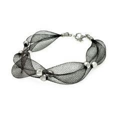 .925 Sterling Silver Black Rhodium Plated 3 Row Mesh Net Silver Bead Italian Bracelet: