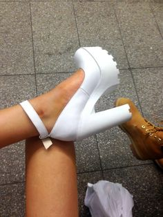 Tendance Chaussures – White chunky cleated sole platform heels w/ ankle strap…. Tendance & idée Chaussures Femme Description White chunky cleated sole platform heels w/ ankle strap. Heeled Boots, Shoe Boots, Shoes Heels, Strap Heels, Boho Heels, Prom Heels, Ankle Straps, Dream Shoes, Crazy Shoes