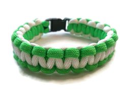 Bright Green and White Paracord Survival by ACORDING2MACEY on Etsy