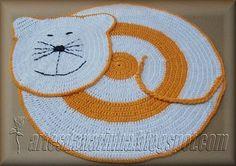 Artes da Narinha: Tapete Gato em Crochet