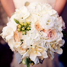 Champagne bridal bouquet - sahara roses, ivory hydrangea, gardenias...