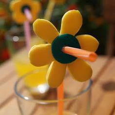 Decorated Straw #cute #diy #flower