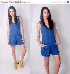 SALE Vintage 1990s sleeveless overalls Denim by IndieStyleSociety, $29.64