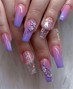 Chic Ombre Coffin Nails Designs In Summer - Nail Art Connect Coffin nails have always been the favorite nail shape for fashion girls. The name sounds terrible, but it also has Neon Nails, Purple Nails, Swag Nails, Grunge Nails, Nail Art Designs, Cute Acrylic Nail Designs, Purple Nail Designs, Summer Acrylic Nails, Best Acrylic Nails