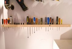 25 Garage Organization Tips and DIY Projects Perfect way to store everything from screwdrivers to small garage tools with ease Garage Organization Tips, Diy Garage Storage, Workshop Organization, Cheap Storage, Workshop Storage, Garage Workshop, Storage Ideas, Organizing, Garage Shed