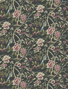 Lotus Blossom Ebony, a feature wallpaper from Prestigious, featured in the Galleria collection.