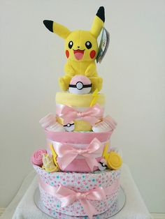 Nappy Cakes by Emma, Pokemon Pikachu Nappy Cake for a Baby Girl, Diaper Cake, Yellow, Pink, Pikachu, Pokeball - Brisbane, Sydney, Melbourne, Baby Gifts